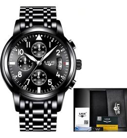 Relógio Masculino Lige 9825 Luxo Original Com Caixa Envio Já