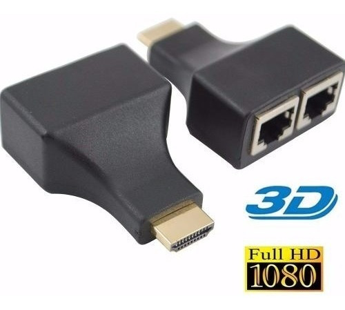 Extensor Hdmi Full Hd Via Cabo Rede Rj45 Utp Cat5e Cat6 30m