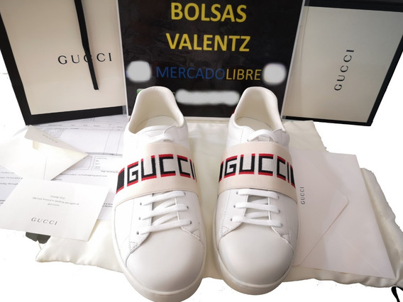 Tenis Gucci Stripe Leather Sneaker En Caja Bolsa Factura Eur