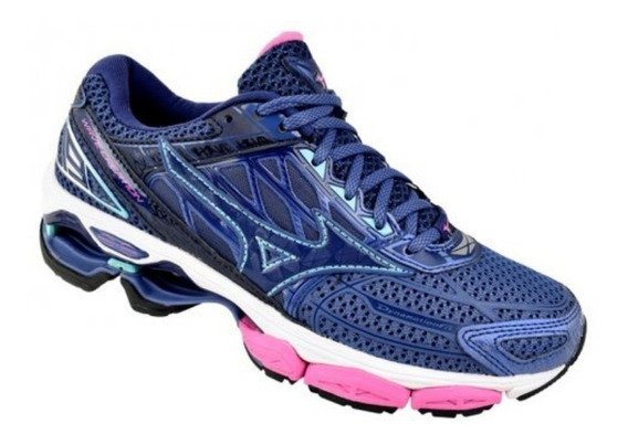 Tenis Mizuno Wave Creation 19 Feminino Azul/ros 4139265-6236