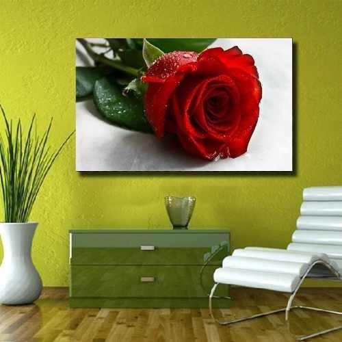 Quadro Rosa Vermelha Sala Quarto Casa Elegante 105x75
