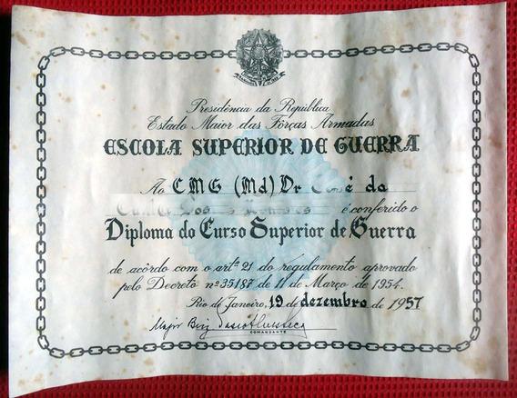Antigo Diploma Escola Superior De Guerra - Ano 1957