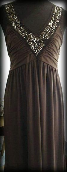 Vestido De Seda Fria Con Bordados
