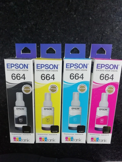 Tinta Original Epson 664 L210,l380,l355,l395,l Kit 4 Colores