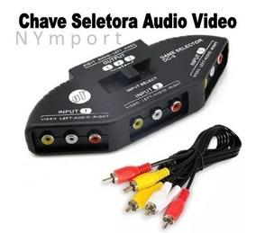 Chave Seletora Audio Video 3 X 1 Saida - Chaveador Cabo Rca