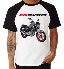 Camiseta Raglan Moto Honda Cb 250 F Twister Prata