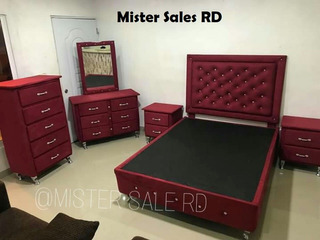Juego De Habitacion Full Rojo, Muebles , Comedor, Sala, Baño