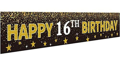 Feliz 16º Cumpleaños Banner Decoración De Fiesta