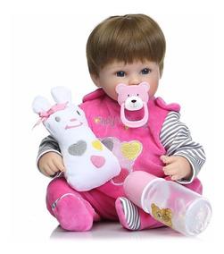 Bebê Reborn Lara Baby Life Recen Nascida Roupa Rosa Newborn