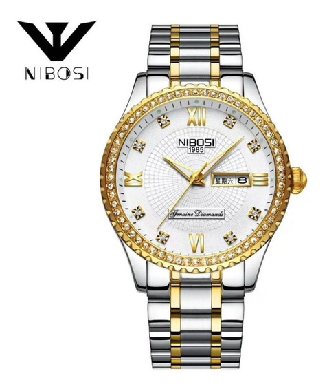 Relógio Feminino Nibosi Elegance Prata E Dourado Original