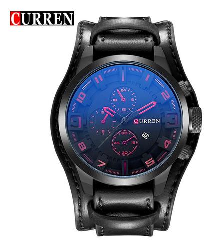 Relógio De Couro Preto Curren 8225 Masculino