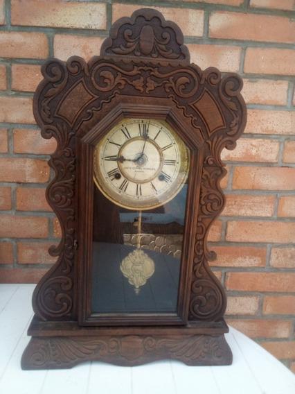 T-antiguo Reloj De Pared Ansonia U.s.a. - Funcionando