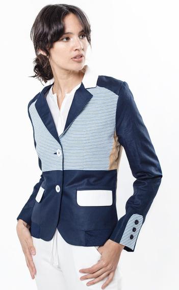 Blazer Mujer Lino Rayado Azul Campera Saco Giacca