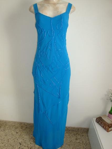Vestido De Festa - Crepe Azul Trabalhado No Bordado