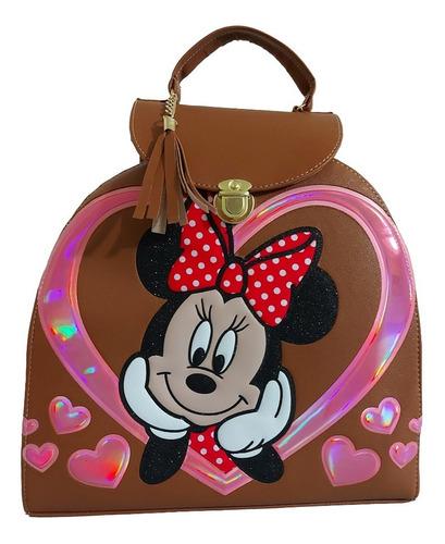 Imagen 1 de 7 de Bolsa - Mochila Para Dama, De Minnie Mouse, En Color Cafe