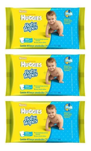 Huggies Baby Wipes Lenços Umedecidos C/48 (kit C/03)