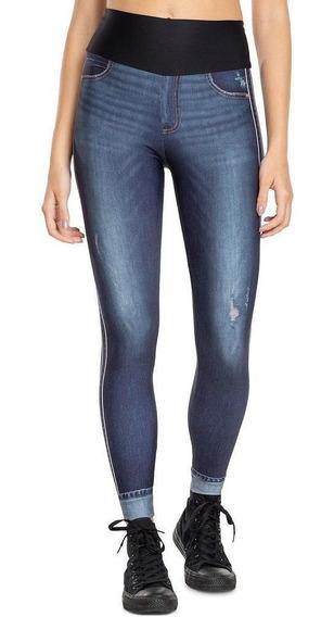 Calça Legging Live Feminina Jeans Sport Longa Treino Azul