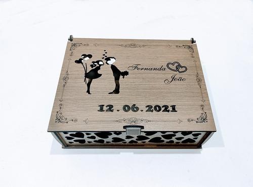 Caixa Convite De Casamento Marrom Mdf - 10 Caixas