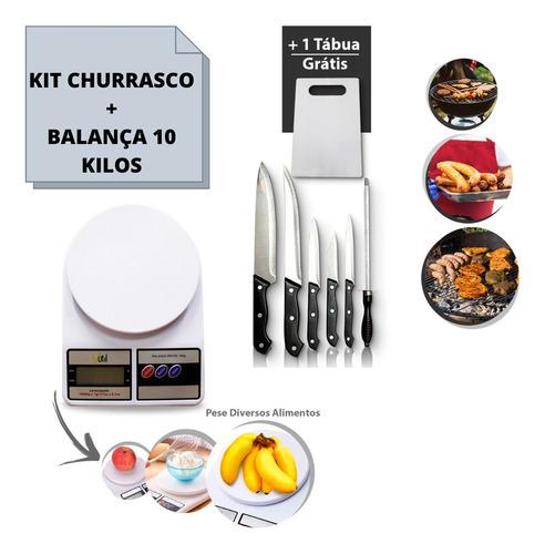 Combo Kit Churrasco 7 Peças + Balanca Digital Cozinha 10 Kg