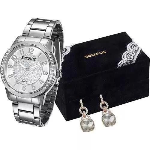 Relógio Seculus Classico 20257l0svns2k1 + Par De Brincos
