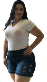 Kit Com 3 Short Jeans Feminino Cintura Alta Plus Size