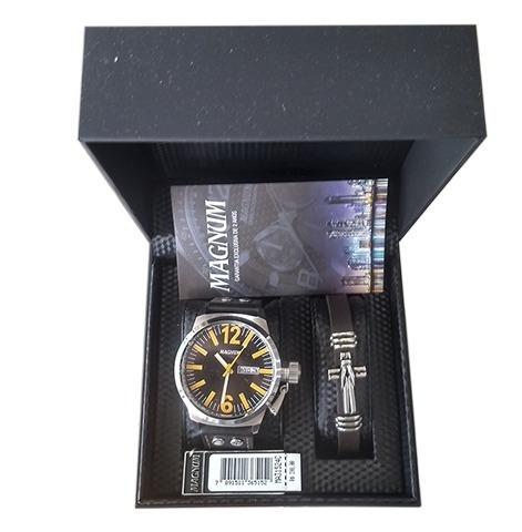 Kit Relógio Magnum Masculino Com Pulseira Ma31524c