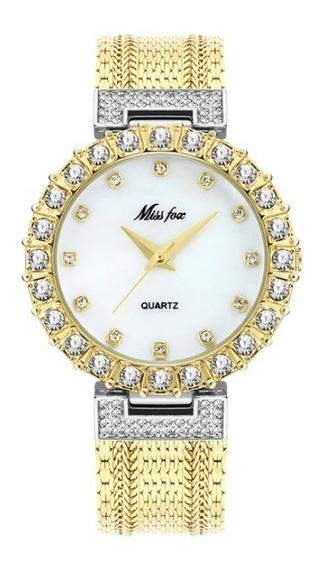 Relógio Feminino De Luxo Original Miss Fox Joia Ouro 18k Top