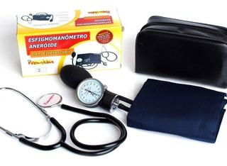 Kit Esfigmomanômetro Azul + Estetoscópio Premium Simples
