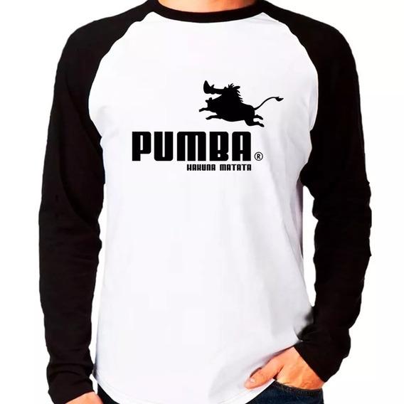 Camiseta Pumba Puma Rei Leão Raglan Manga Longa