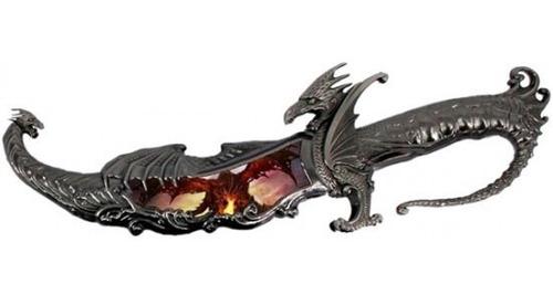 Adaga Aço Dragão Red Faca Espada Bainha Colecionador 38cm