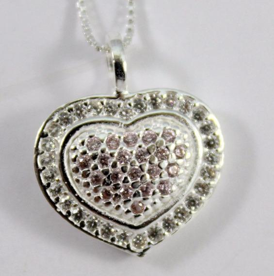 Colar Prata 925 Coração Com Micro Zircônias+jóia+festa+luxo