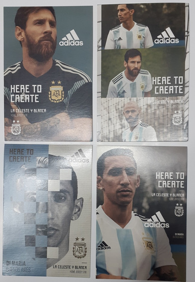 Lote De 4 Tarjetas adidas Messi Di Maria Mascherano