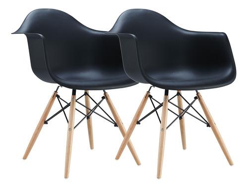 Set X 2 Sillon Silla Comedor Diseño Eames Patas Madera Cuota