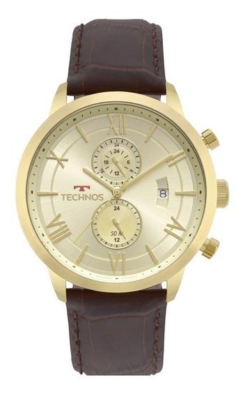 Relógio Technos Masculino Grandtech Jp11ad/4x Couro Dourado