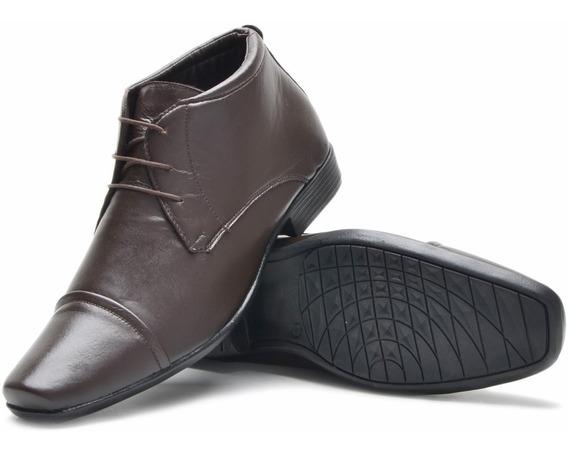 Sapato Social Bota Botina Masculino Em Couro Super Leve