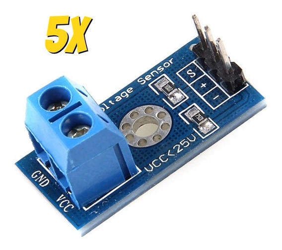 5x Módulo Sensor De Tensão 0-25v Dc Voltagem Arduino