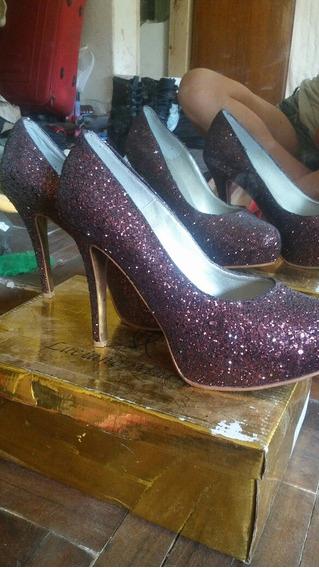 Zapatos De Cuero Con Gliters Brillos Stilettos