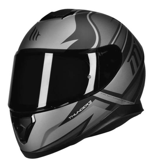 Capacete Moto Mt Thunder 3 Cap Preto Fosco Cinza