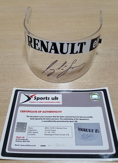 Autógrafo Ayrton Senna Com Certificado - Viseira Bell Xfm-1