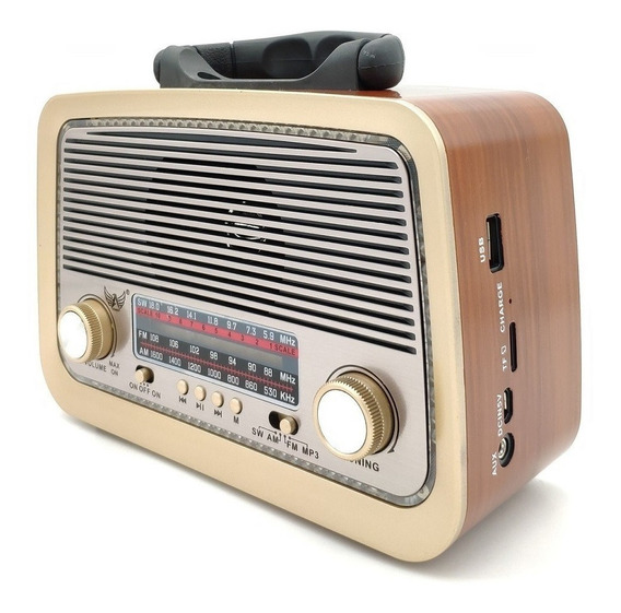 Caixa Som Antiga Radio Portátil Retro Bluetooth Am Fm Sd Usb