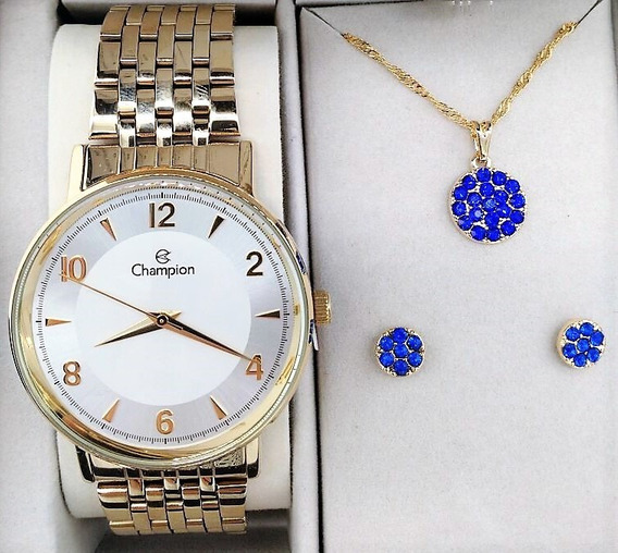 Relógio Champion Feminino Aço Dourado Visor Prata Cn29481d