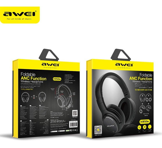 Headphone Bluetooth 5.0 A950bl Awei C/ Tecnologia Anc Preto