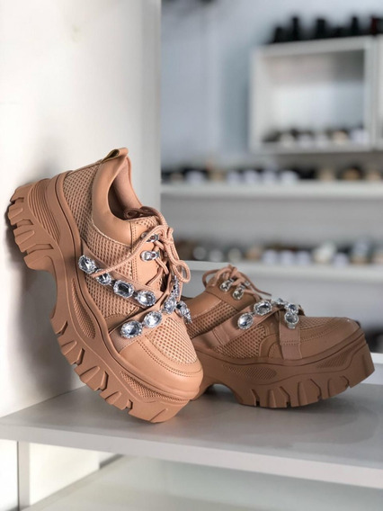 Tênis Feminino Chunky Sneaker Nude Com Pedras Lançamento