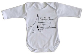 Body Criança Roupa Bebê Luxo Bolsonaro Mão Feminina Mulher