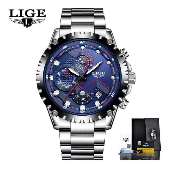 Relógio Masculino Lige 9821 Resistente A Água Barato