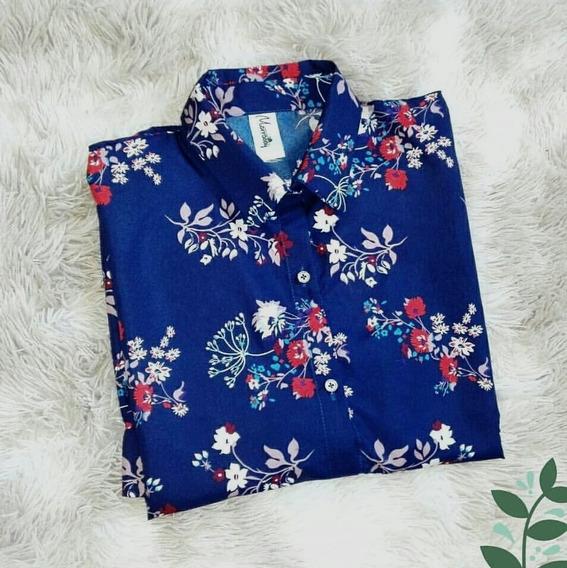 Camisa De Algodón Y Fibrana Para Mujer / Manga Corta