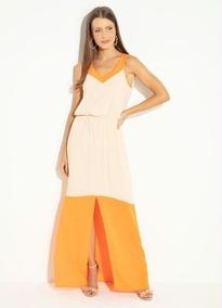 98399f1ce Vestido Longo Com Fendas (floral Bege) Quintess - Calçados, Roupas e ...