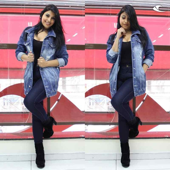 Jaqueta Jeans Plus Size Destroyed Moda Grande 44 Ao 56 Linda