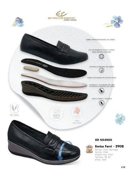 Zapato Pie Diabetico Plataforma Dama Negro Con Gris Comodos
