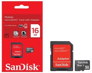 Cartão Memória Micro Sd 16gb Adaptador Sandisk Original
